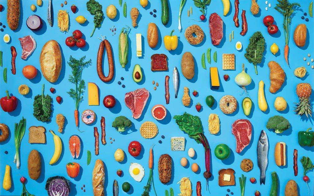food-blue-background